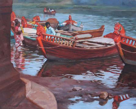 Cityscape Oil Art Painting title 'Waiting' by artist Manoj Deshmukh