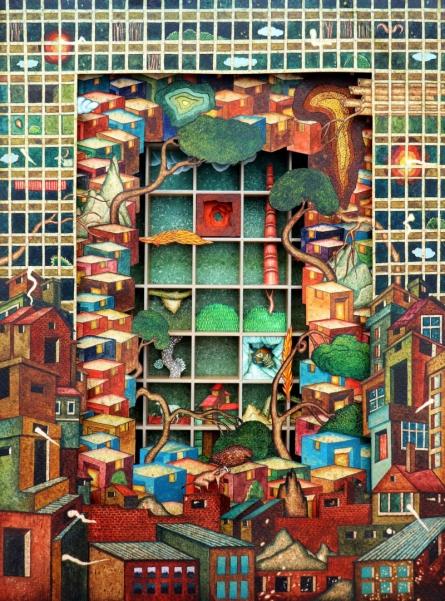 Cityscape Mixed-media Art Painting title 'The Boundary' by artist Digbijayee Khatua