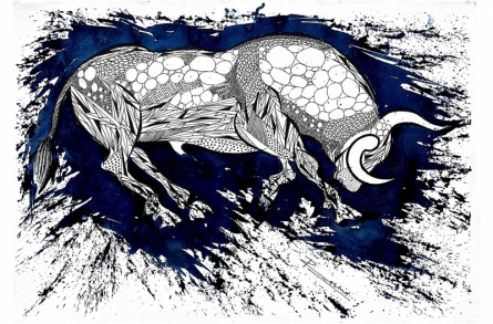Animals Pen-ink Art Drawing title 'Blue Bull Series 2' by artist Rashid Ahamad