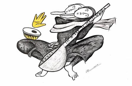 Figurative Pen-ink Art Drawing title 'Musician Series 15' by artist Rashid Ahamad