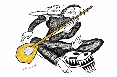Figurative Pen-ink Art Drawing title 'Musician Series 16' by artist Rashid Ahamad