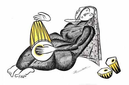 Figurative Pen-ink Art Drawing title 'Musician Series 18' by artist Rashid Ahamad
