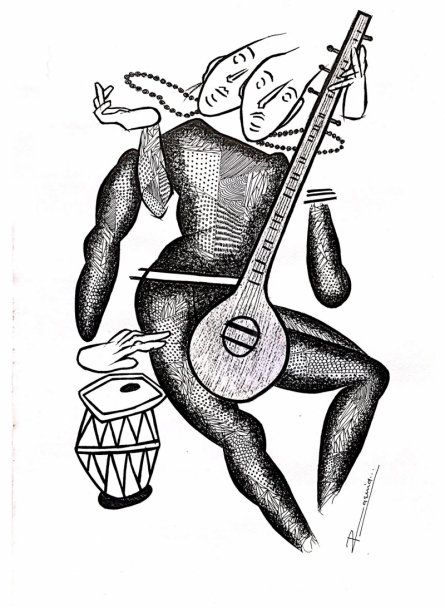 Figurative Pen-ink Art Drawing title 'Musician Series 3' by artist Rashid Ahamad
