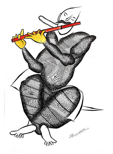 Figurative Pen-ink Art Drawing title 'Musician Series 7' by artist Rashid Ahamad