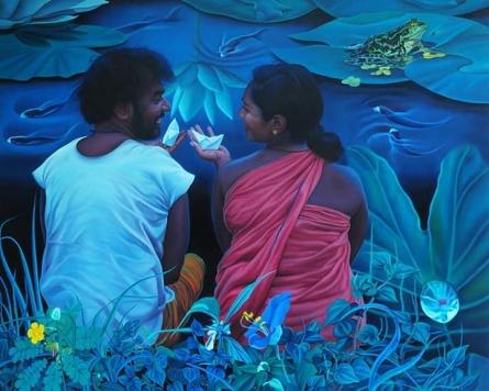 Figurative Oil Art Painting title 'Couple' by artist K G Babu