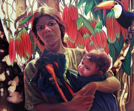Figurative Oil Art Painting title 'Mother And Child 1' by artist K G Babu