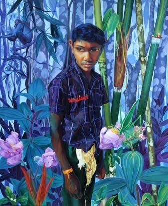 Figurative Oil Art Painting title 'Untitled 8' by artist K G Babu