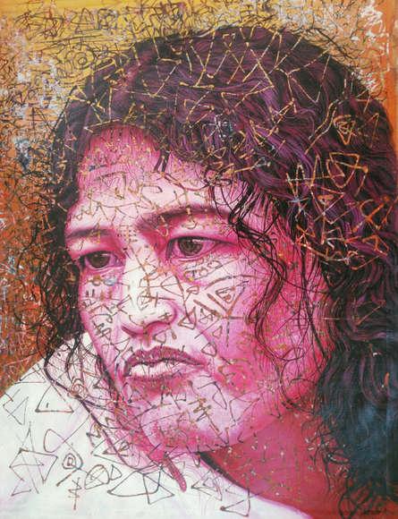 Figurative Acrylic Art Painting title 'Irom Sharmila' by artist Rajnikanta Singh