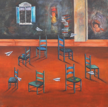 Still-life Acrylic Art Painting title 'Musical Chair' by artist Isha Bawiskar
