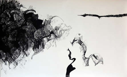 contemporary Pen Art Drawing title 'Connecting God' by artist Rachana Shah