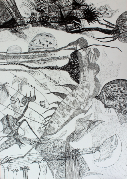 contemporary Pen Art Drawing title 'Material World' by artist Rachana Shah