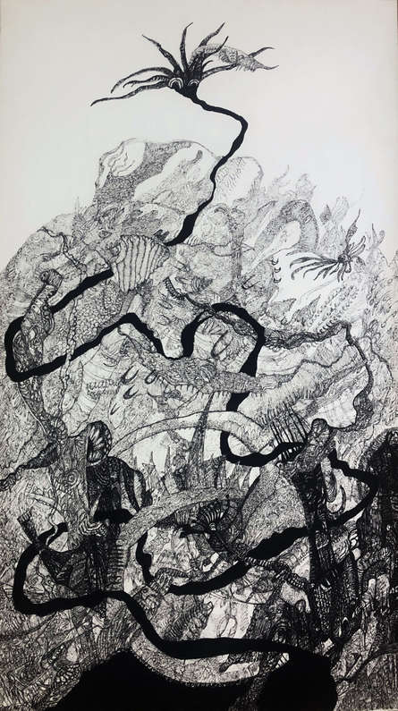 contemporary Pen Art Drawing title 'The Search' by artist Rachana Shah