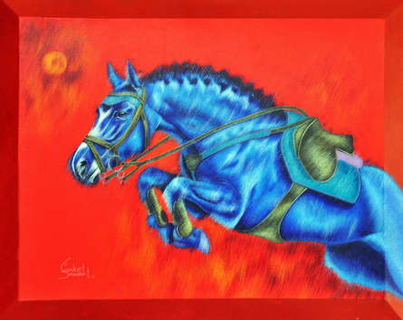 Animals Acrylic Art Painting title 'Unstoppable' by artist Sanket Sawant
