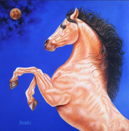 Animals Acrylic Art Painting title Unstoppable 2 by artist Sanket Sawant