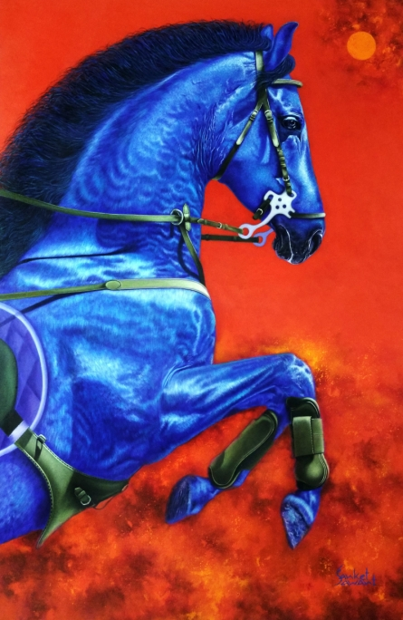 Animals Acrylic Art Painting title 'Unstoppable 3' by artist Sanket Sawant