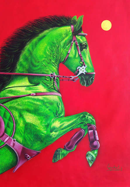 Animals Acrylic Art Painting title 'Unstoppable 4' by artist Sanket Sawant