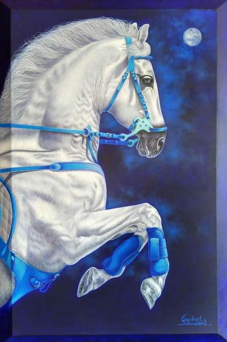 Animals Acrylic Art Painting title White Horse by artist Sanket Sawant