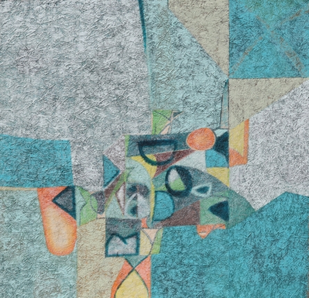 Abstract Mixed-media Art Painting title 'Untitled 36' by artist Bhushan Bhombale