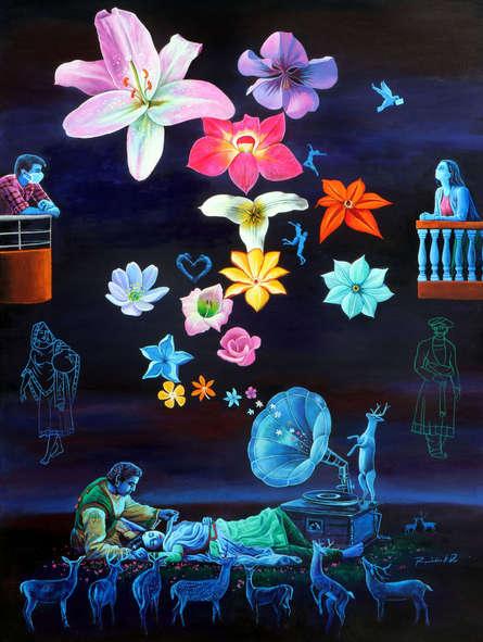 Figurative Acrylic Art Painting title Love In Corona Time 2020 by artist Rawindra Das
