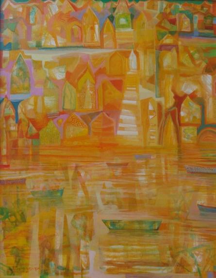 Landscape Acrylic Art Painting title 'The River 2' by artist Ranadip Mukherjee