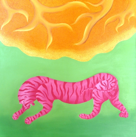 Animals Oil Art Painting title 'Red Tiger' by artist Naveena Ganjoo