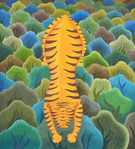 Animals Oil Art Painting title 'Tiger In Forest' by artist Naveena Ganjoo