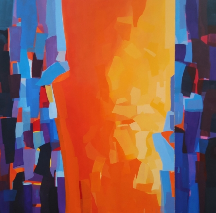 Abstract Acrylic Art Painting title 'Untitled 5' by artist Padmakar Santape