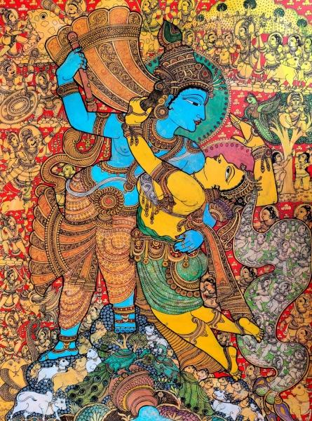 Religious Acrylic Art Painting title 'Radha Krishna' by artist Harinath N