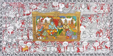 Religious Acrylic Art Painting title 'Radha Krishna 2' by artist Harinath N