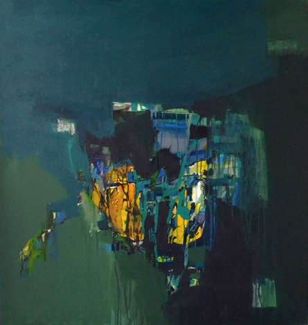 Abstract Acrylic Art Painting title 'Fire Deep Within' by artist Jayshree Savani