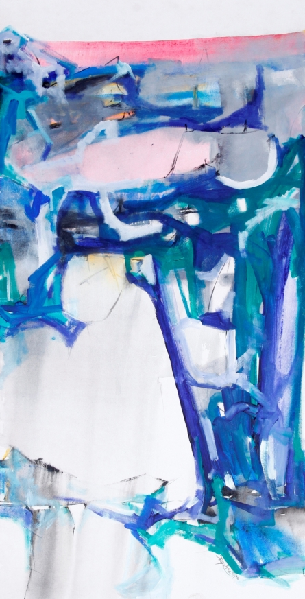 Abstract Acrylic Art Painting title 'My Pink Lake' by artist Jayshree Savani