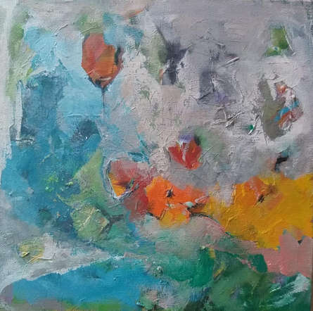 Abstract Acrylic Art Painting title 'Sunflower Bloom' by artist Jayshree Savani