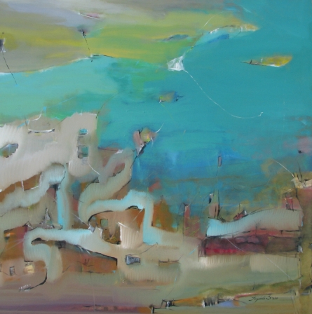 Abstract Acrylic Art Painting title 'Unfold' by artist Jayshree Savani