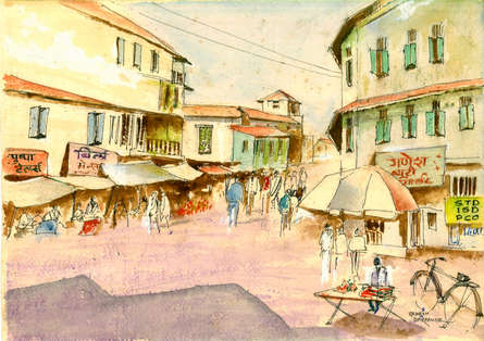 Cityscape Watercolor Art Painting title 'Daund Market' by artist Ramessh Barpande