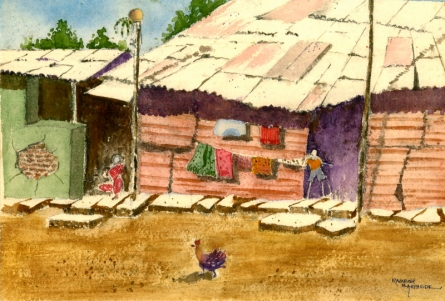 Landscape Watercolor Art Painting title 'Dharavi' by artist Ramessh Barpande