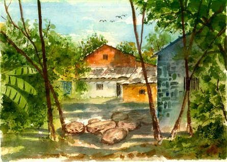 Cityscape Watercolor Art Painting title 'House At Allepi Kerala' by artist Ramessh Barpande