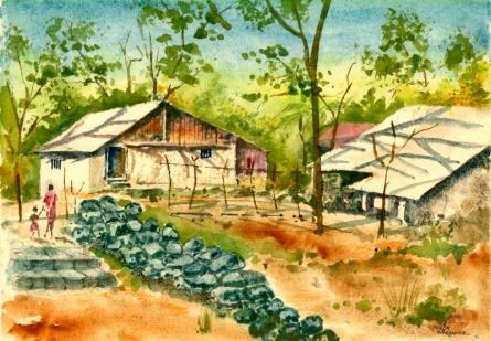 Landscape Watercolor Art Painting title Ideal Neighbour by artist Ramessh Barpande