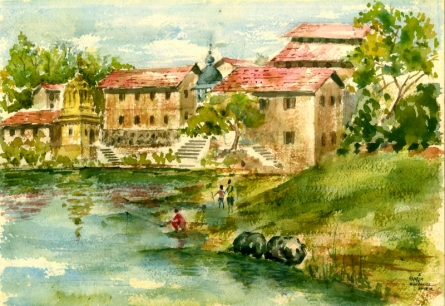 Cityscape Watercolor Art Painting title 'Kapileshwar Temple' by artist Ramessh Barpande