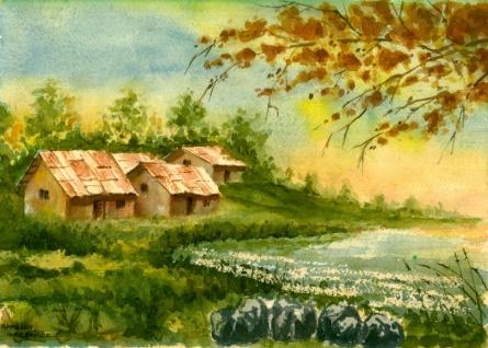 Landscape Watercolor Art Painting title 'Lake' by artist Ramessh Barpande