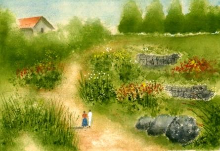 Landscape Watercolor Art Painting title 'Natural Garden' by artist Ramessh Barpande