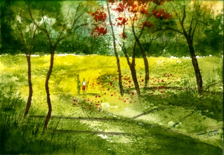 Nature Watercolor Art Painting title 'Nature' by artist Ramessh Barpande