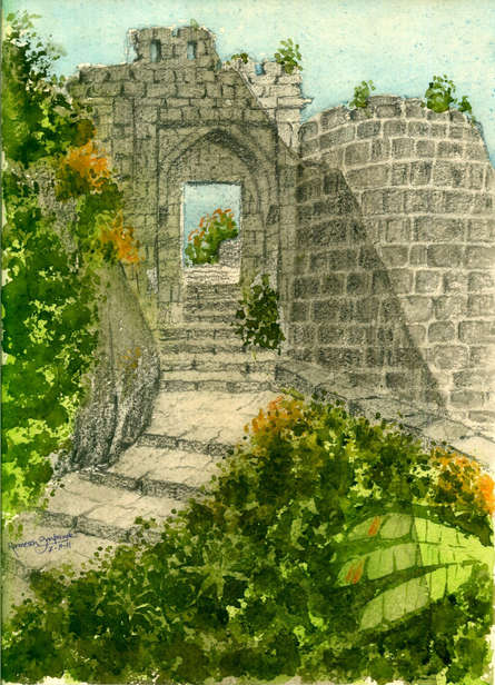 Cityscape Watercolor Art Painting title 'Sinhagad Entrance Pune' by artist Ramessh Barpande