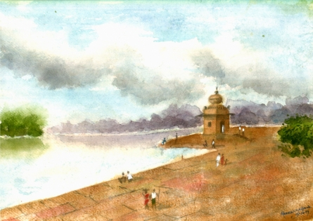 Cityscape Watercolor Art Painting title 'Temple At Riverside' by artist Ramessh Barpande
