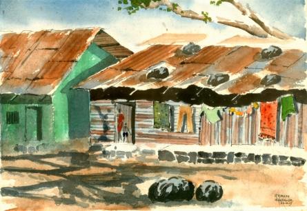 Landscape Watercolor Art Painting title 'Tin House' by artist Ramessh Barpande