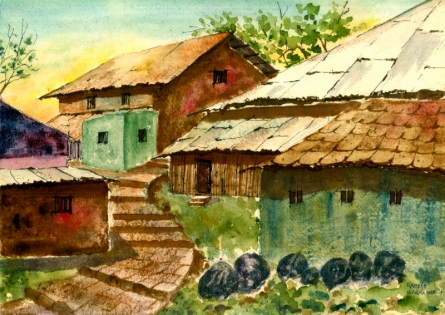 Landscape Watercolor Art Painting title 'Village Roofs' by artist Ramessh Barpande
