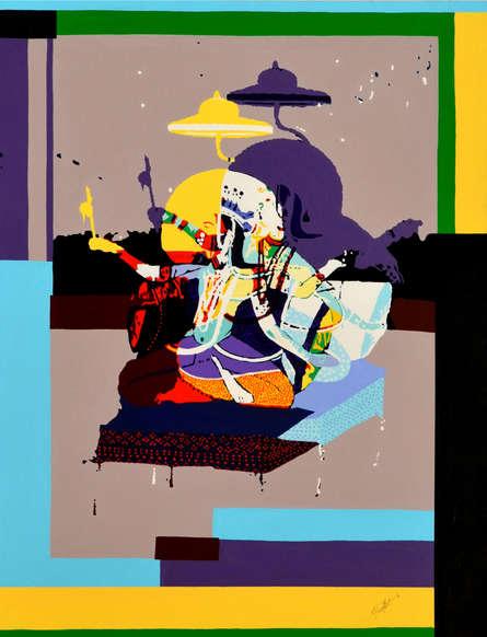 Figurative Acrylic Art Painting title 'Enjoying Yourself' by artist Niraja Bhuwal