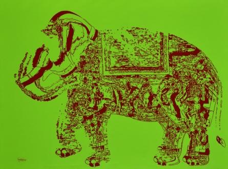 Animals Acrylic Art Painting title 'Jubilation 8' by artist Niraja Bhuwal