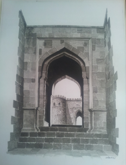Cityscape Watercolor Art Painting title 'Gate Of Fort' by artist Dhirendra Mandge