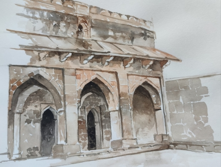 Cityscape Watercolor Art Painting title 'Manav' by artist Dhirendra Mandge