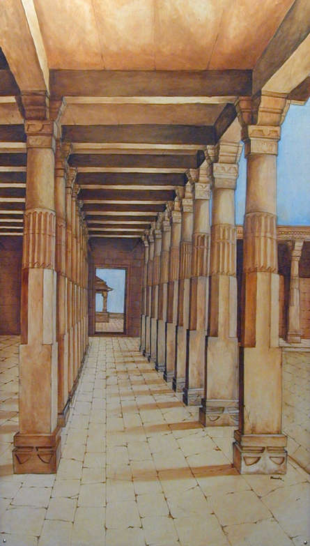 Cityscape Oil Art Painting title 'Pillers From Mandavgarh' by artist Dhirendra Mandge